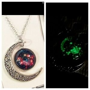 Jewelry - Glow in the dark galaxy cabochon necklace